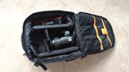 High quality backpack with a lot of functionality. Despite its small size it fits a lot of camera equipment
