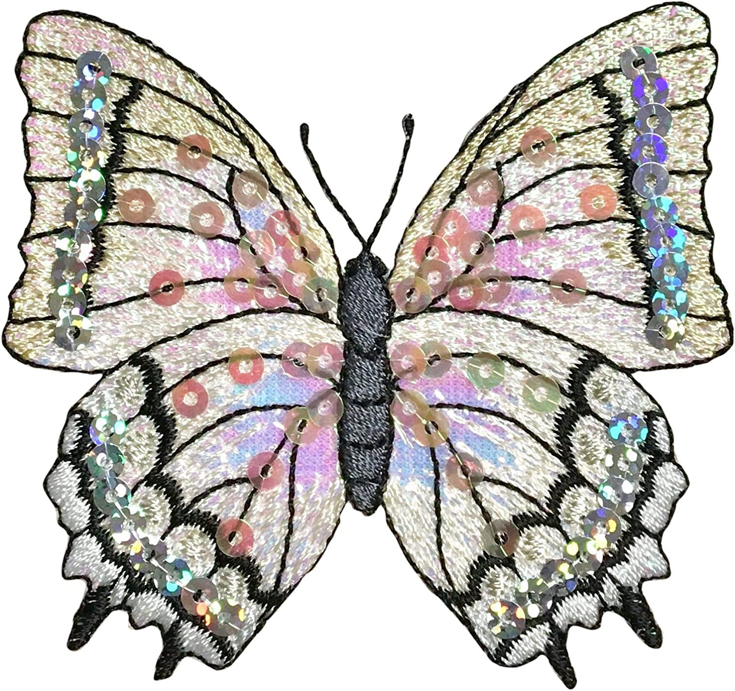 """Iron on Sequin Butterfly Applique Patch 3-1//8/"""" White"""