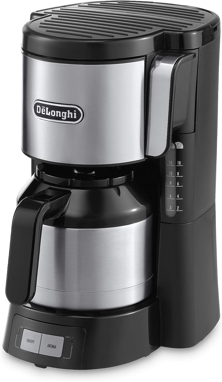 DeLonghi ICM 15740 - Cafetera de filtro, 1000 W, 1.25 L, plástico, negro/plata: Amazon.es: Hogar