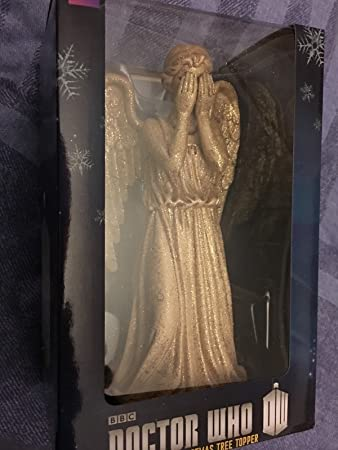 Doctor who weeping angel 8 inch gold colour christmas tree topper ...