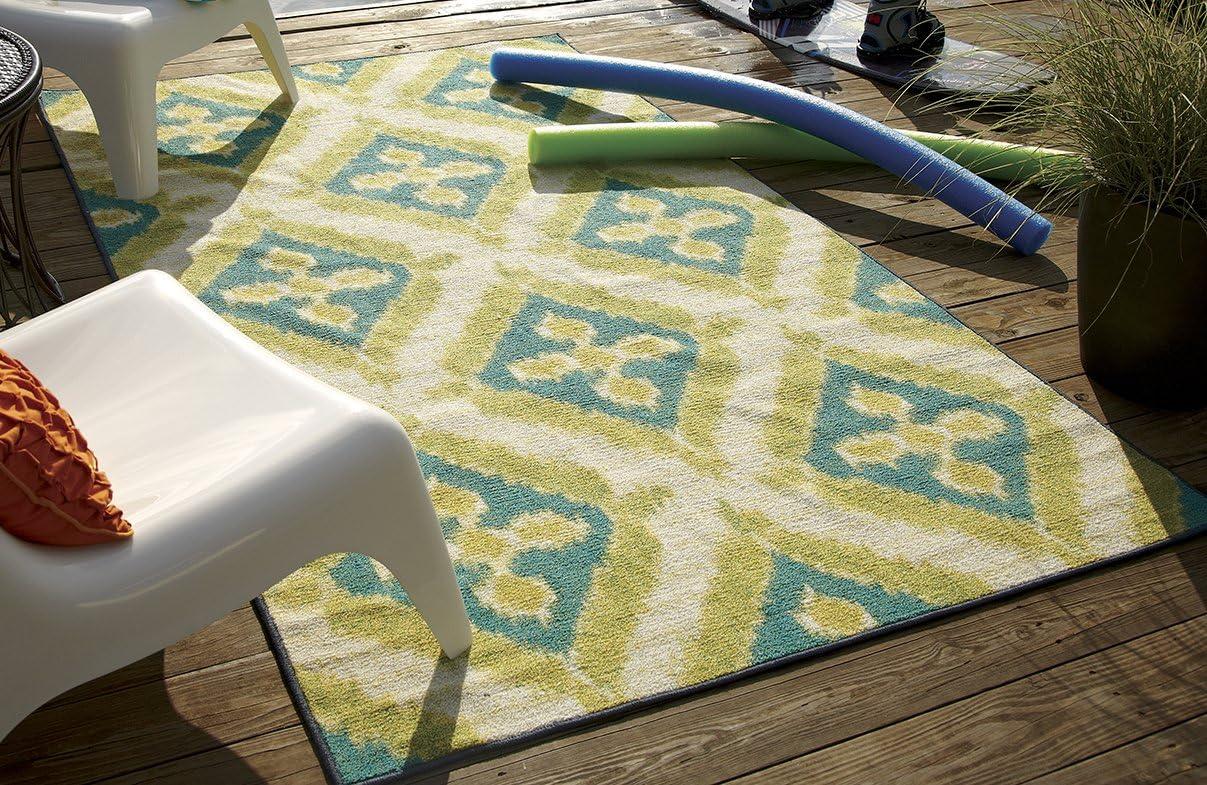 Mohawk Home Summer Splash Ikat Indoor Outdoor Patio Printed Area Rug, 7 6×10 , Turquoise Blue