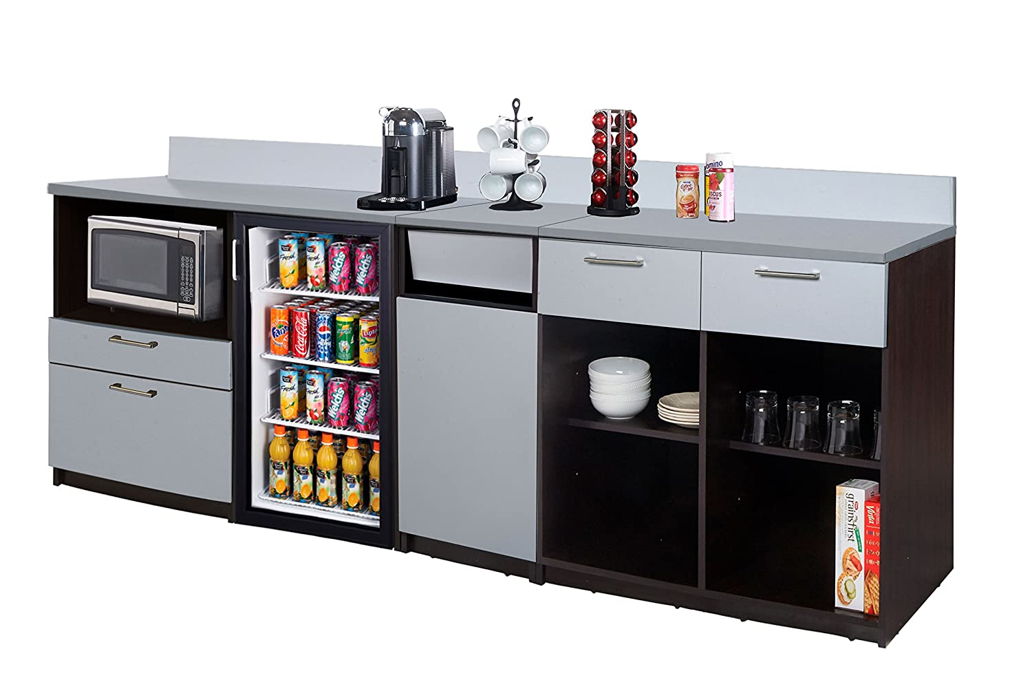 NOT RTA Coffee Kitchen Lunch Break Room Cabinets Model 4342 BREAKTIME 3 Piece Group Color Espresso Furniture Items ONLY. Factory Assembled