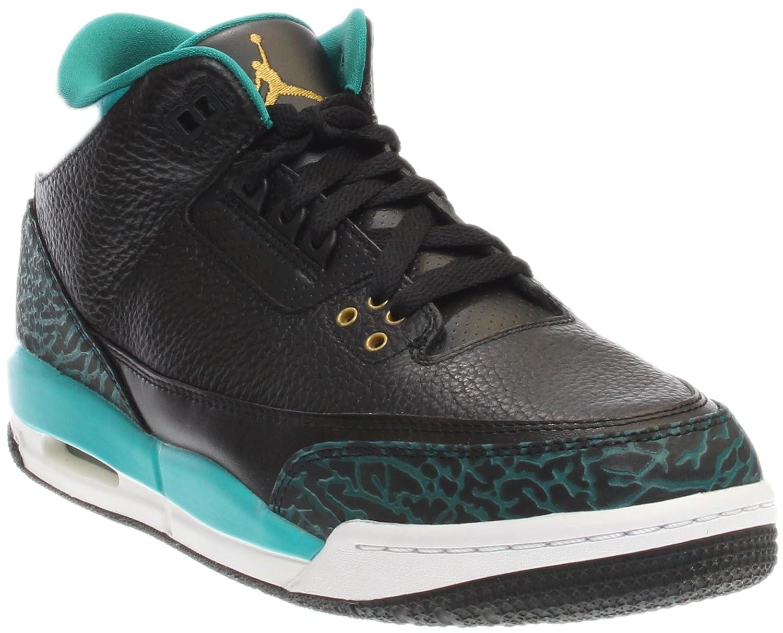 Black, metallic gold-rio teal Nike Men's Air Jordan 5 Retro Basketball shoes