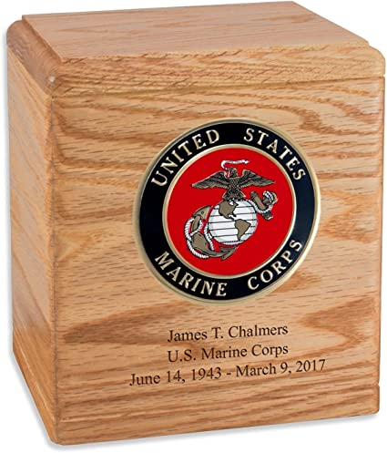 Marine Corps Emblem Wood Military Urn for Ashes