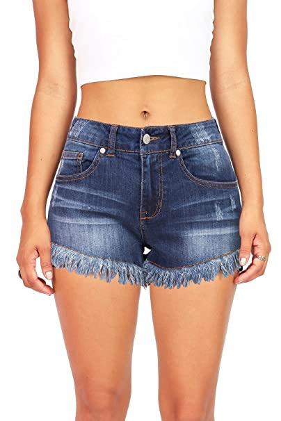 28a6b1795a Amazon.com: Celebrity Pink Pink Ice Women's Juniors Mid Rise Frayed Edge Denim  Shorts (1, Dark Denim): Clothing