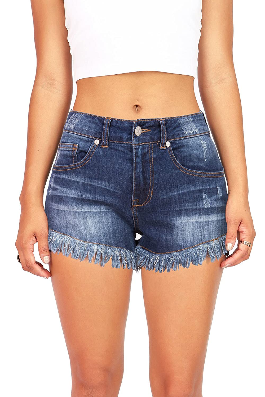 Pink Ice Women's Juniors Mid Rise Frayed Edge Denim Shorts cheap ...