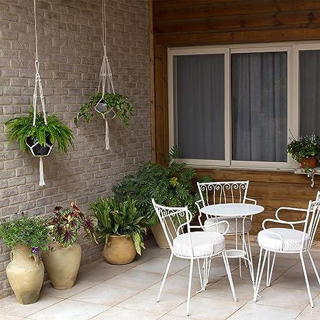 UBERMing 2 PCS Macram/é Suspension Plante Corde Macram/é Plant Hangers avec 4 Crochets de Suspension et 2 Bouchons en Caoutchouc Blanc pour Int/érieur Ext/érieur Terrasse Balcon Jardin