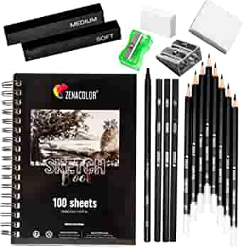 Complete Sketch Kit For Beginners Or Professional 8 Drawing Pencils 3 Charcoal Pencils 1 Graphite Pencil 2 Charcoal Sticks 100 Page Sketchbook And Accessories Ideal Gift For All Artists Office Products
