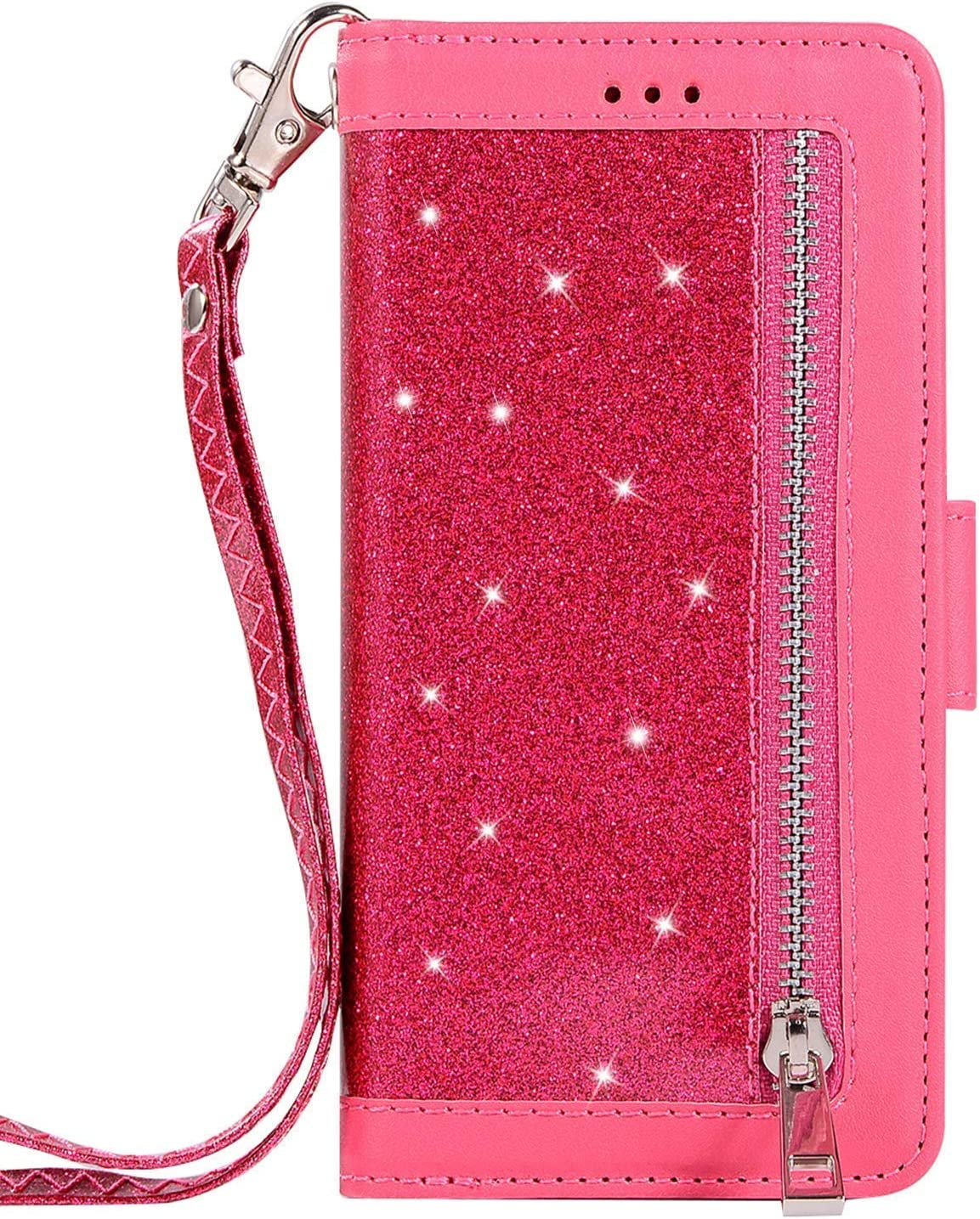 Herbests Compatible with iPhone XS Max Wallet Case Zipper Luxury Bling Glitter Shockproof Protective Leather Flip Cover 9 Card Slots Magnetic Phone Cover /& Strap Kickstand,Silver