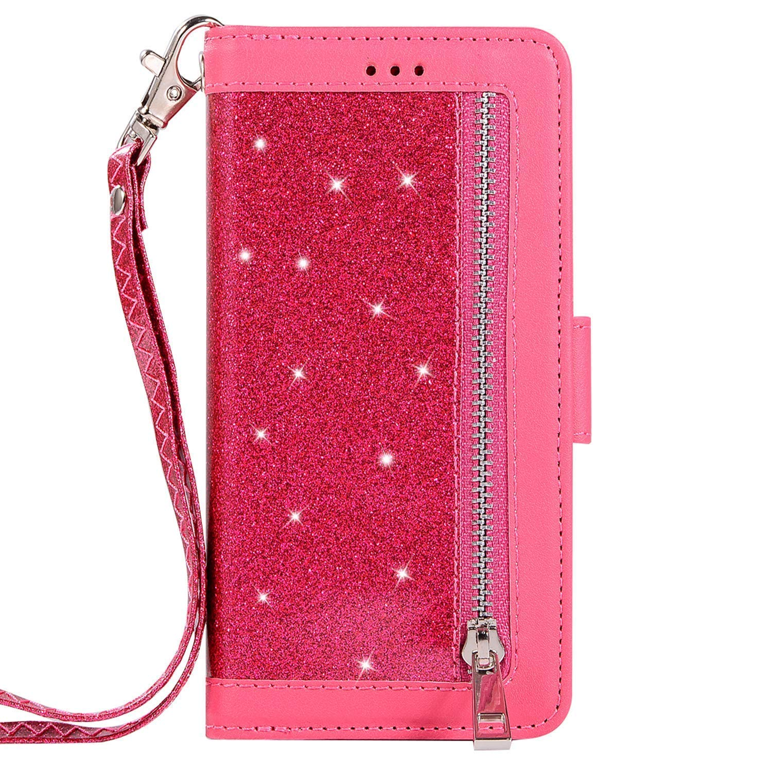 Herbests Compatible with Huawei Mate 10 Lite Wallet Case Luxury Bling Glitter Multi-Functional Zipper Leather Flip Cover 9 Credit Card Holders Magnetic Purse Cover with Wrist Strap,Rose Red by Herbests