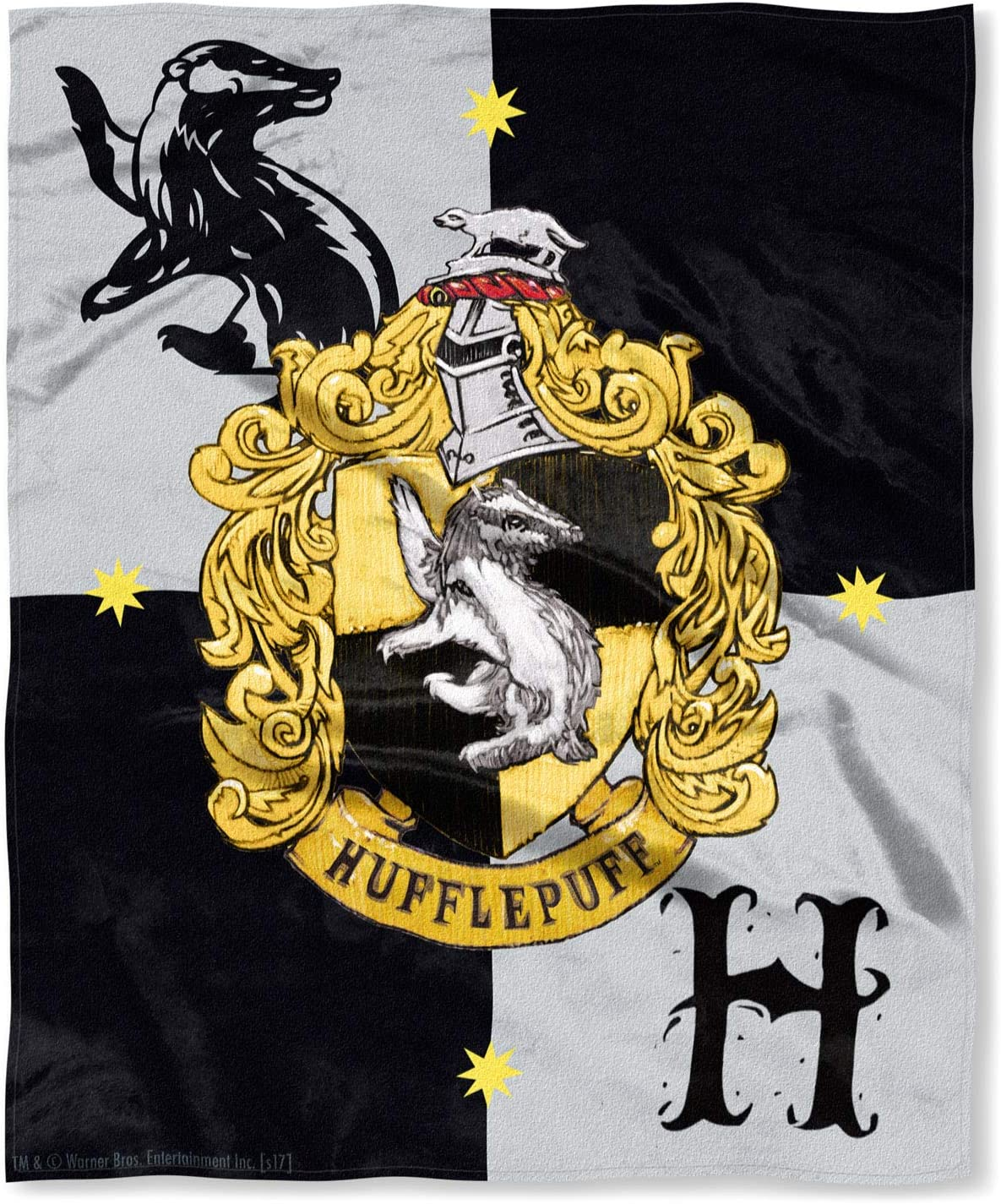 "Northwest Harry Potter House Crests Silk Touch Throw 50"" x 60""- Choose from All 4 Houses (Hufflepuff)"