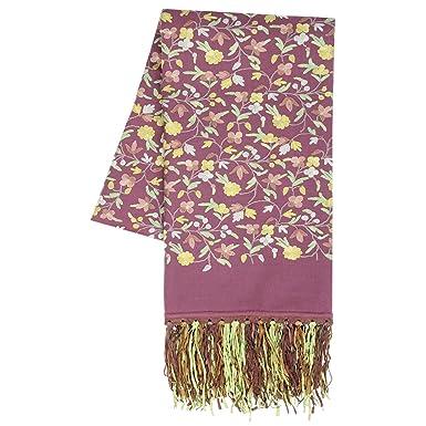 Main Broderie L automne Hiver Mérinos La laine Aux femmes Pashmina Châle  Écharpe Bordeaux Jaune f119ed3775e