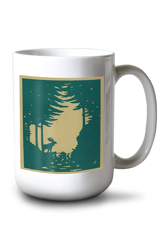 Nature Magazine – View of a Moose in the Woods 15oz Mug LANT-3P-15OZ-WHT-30069 B077RWLGBH  15oz Mug