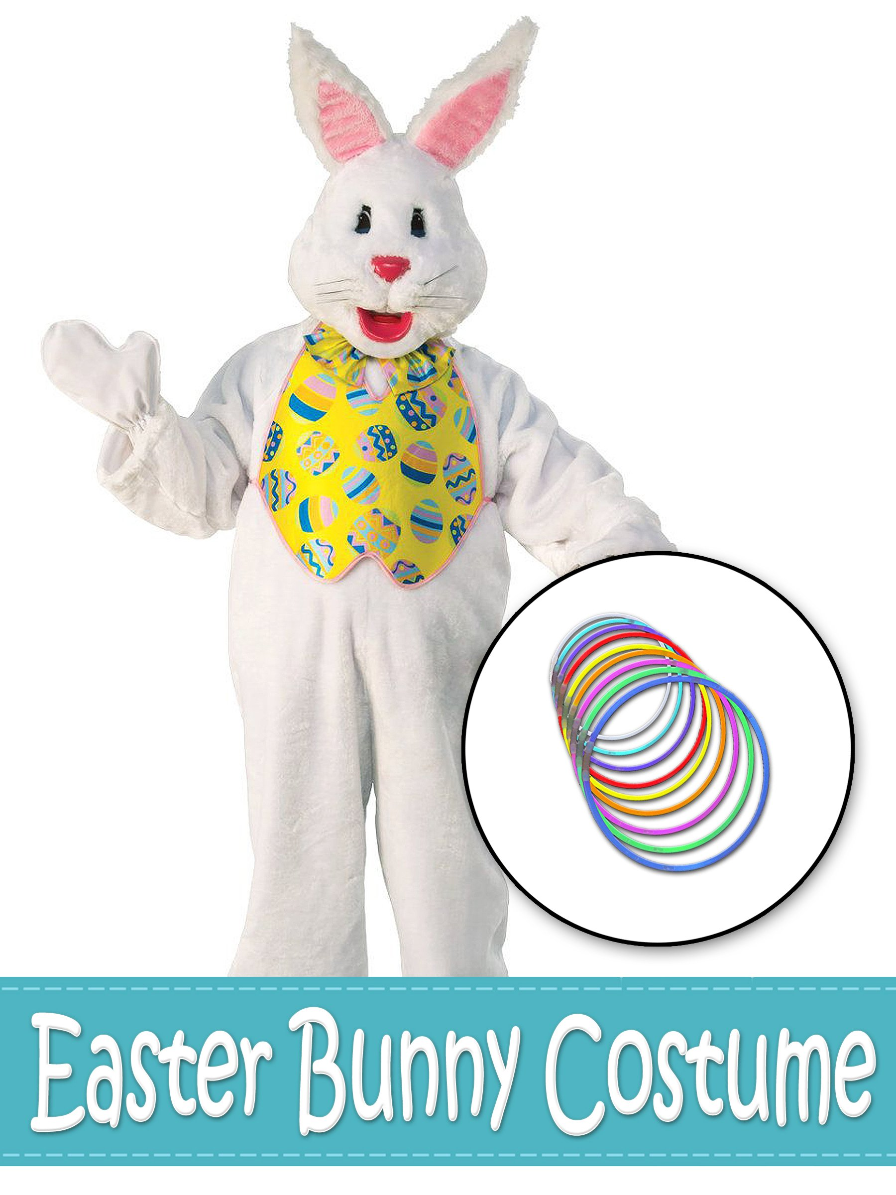 Easter Bunny Mascot With Yellow Vest and Glow Necklaces Costume Kit - Standard