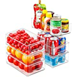 Refrigerator Organizer Bins, 6pack Stackable Clear Plastic Organizers with Handles For Fridge, Pantry, Kitchen Cabinet, Drawe