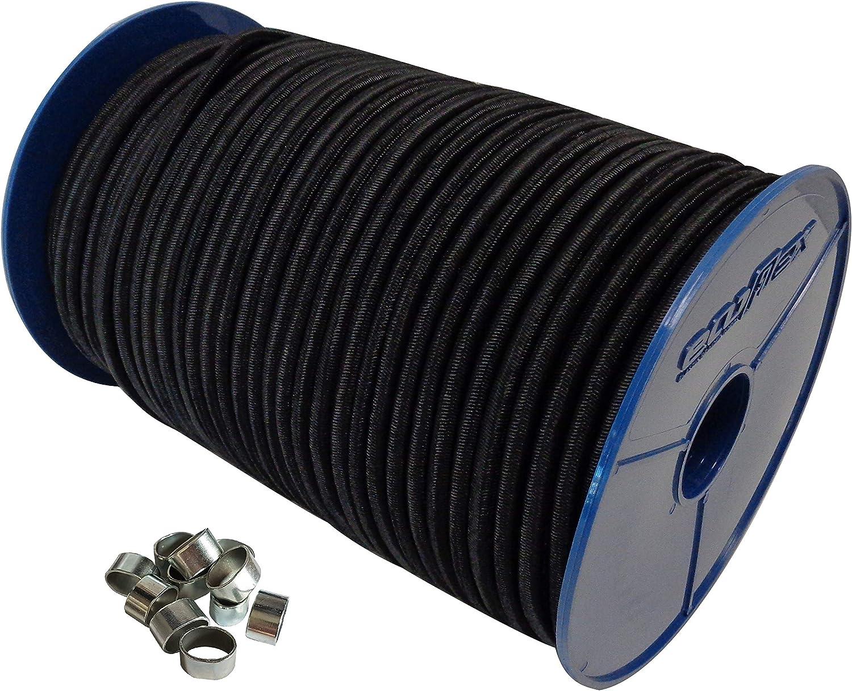 Expanderseil Set 20m Schwarz 8mm Gummiseil Gummischnur Planen 20x Würgeklemmen
