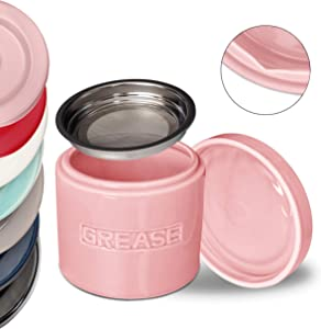 Bacon Grease Oil Container Storage Can Keeper w/Stainless Strainer Paleo Keto Pour Spout Ceramic Porcelain Stoneware Fat Separator Filter Multiple Colors PINK
