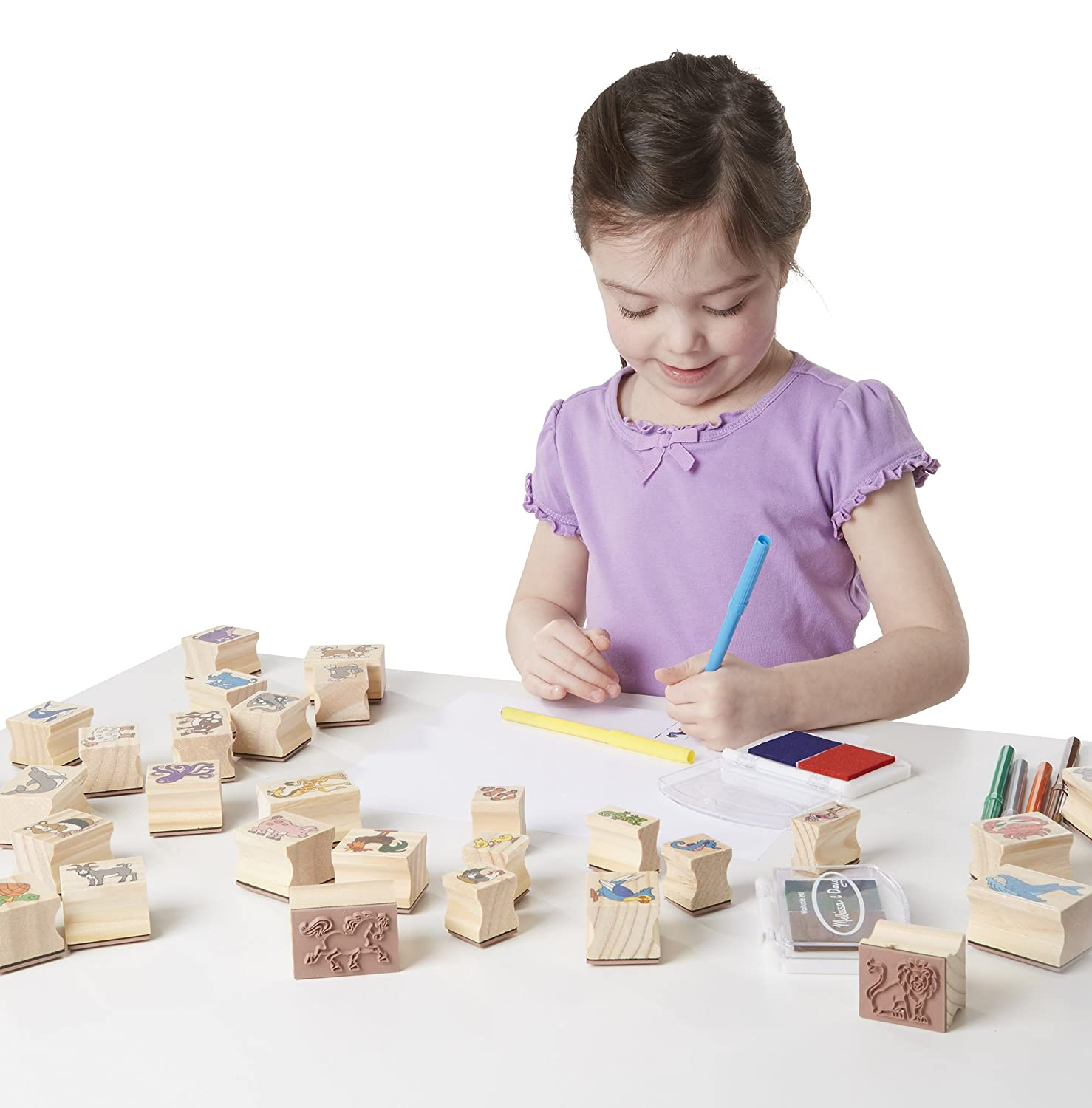 4 Sticker Sheets 5 Colored Pencils Melissa /& Doug Wooden Classroom Stamp Set With 10 Stamps and 2-Colored Stamp Pad 2400