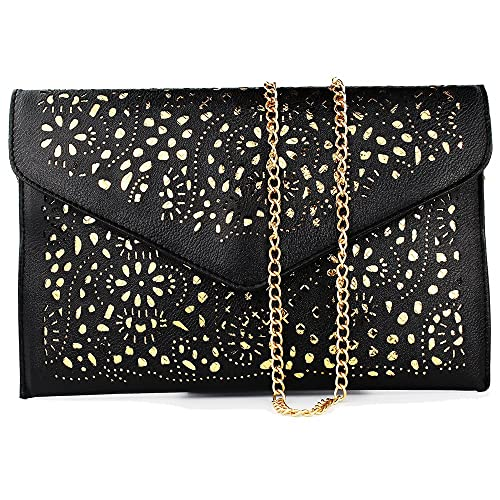 Retro Hollow Cutout Black Womens Handbags For Women Shoulder Bag