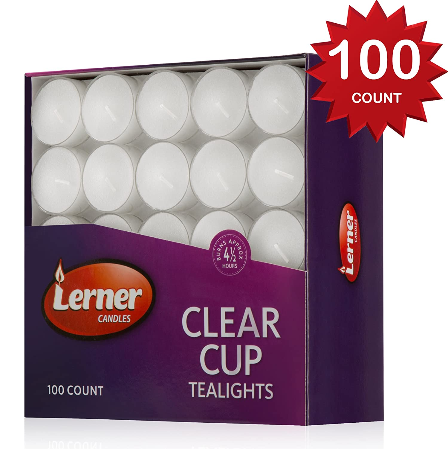 Lerner Pack of 100 Clear Cup White Unscented Tea Light Candles Aprox 4.5 Hour Burning Time Lerner Candles