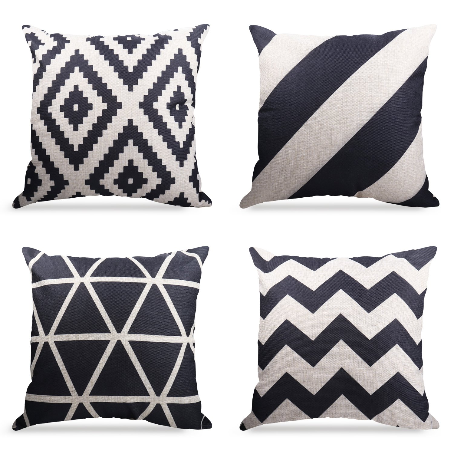 Geometrict Pattern Throw Pillows Covers 18 x 18 Inch Cotton Linen Cushion Covers for Couch Decorative Set of 4