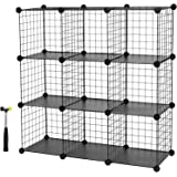 SONGMICS 9 Cube Metal Wire Interlocking Cabinet and Storage Rack Wire Mesh Black shelves 93 x 31 x 123 cm (W x D x H) LPI115H