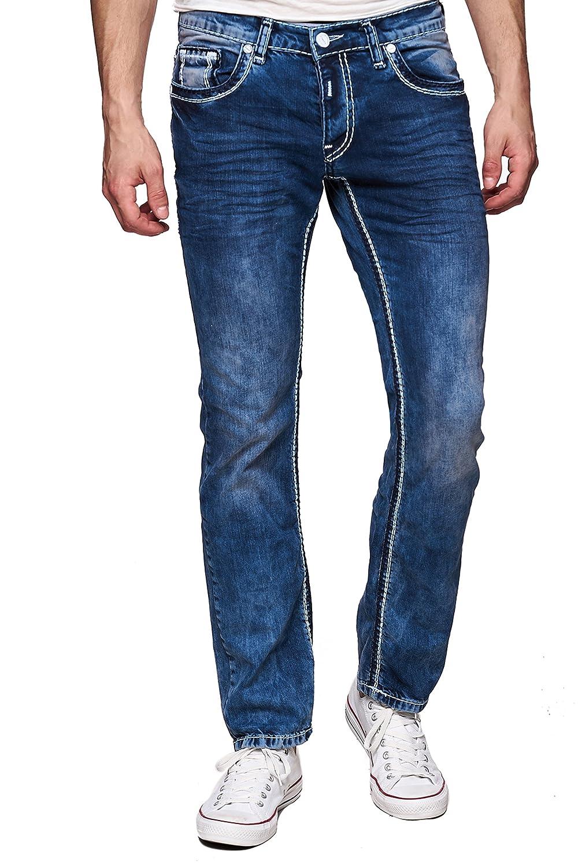 Super Qualität super beliebt erstaunliche Qualität Rusty Neal Men's Designer Jeans Straight Fit, Dicke Naht, Dark Blue  Stonewash
