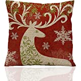 ME COO Deep red Christmas series the Christmas elk Christmas tree hug pillow covers decorative pillow covers standard pillow coer 18 Inches × 18 Inches 1Pcs