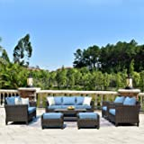 ovios Patio furnitue, Outdoor Furniture Sets,Morden Wicker Patio Furniture sectional with Table and Waterproof Covers,Backyard,Pool,Aluminum,Brown,Blue (10 Piece, Blue)