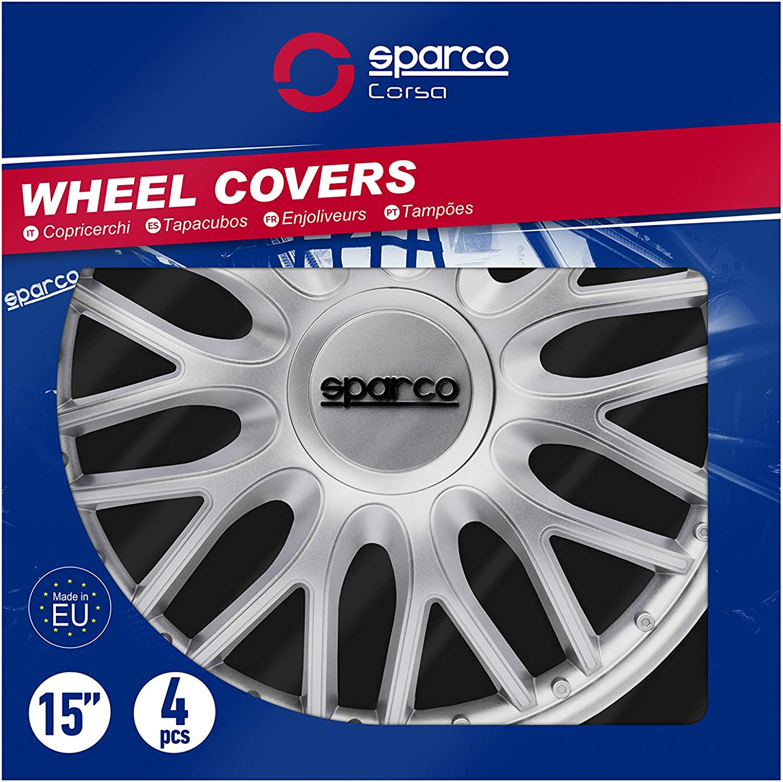 Sparco SPC1596GRBK Set Wheel Covers Roma 15-inch Grey//Black