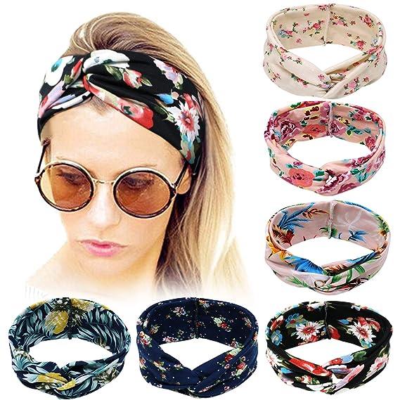 14d27782515325 Bascolor Stirnband Damen elastische Haarband Kopfband Weich Turban Stirnband  für Alltag Yoga Sport Fitness (6pcs