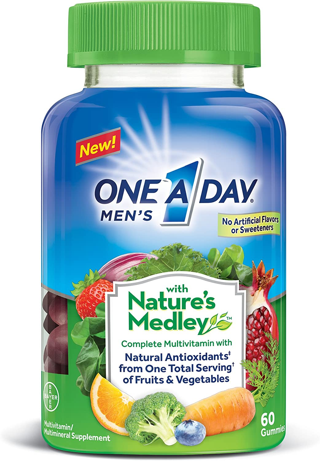 One A Day Men's with Nature's Medley Complete Multivitamin Supplement Gummies, 60 Count