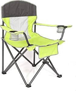 MacSports Big Comfort XL Folding Quad Outdoor Camp Chair with Carry case, Light Green