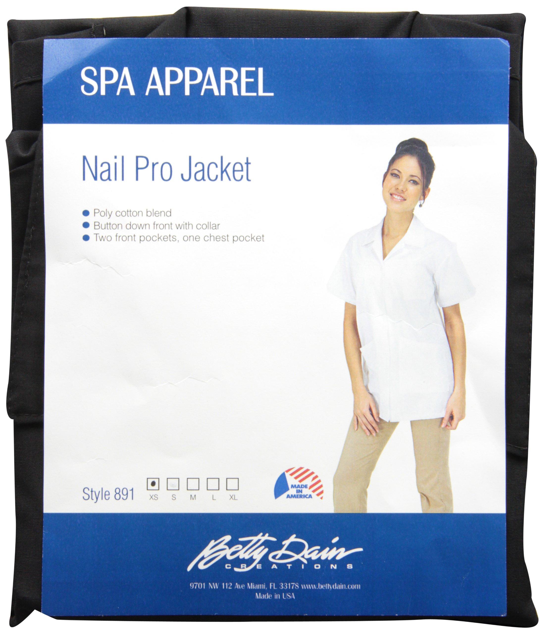 Betty Dain Professional Salon Nail Tech/Esthetician Jacket, Black, XS