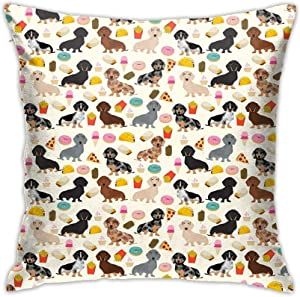 Andy Pansy Ugliest Art Ugly Dachshund Dog Wiener Food Pattern Throw Pillow Covers Cushion Cover Pillowcase for Sofa Couch Decor Home Decor 18x18 Inch