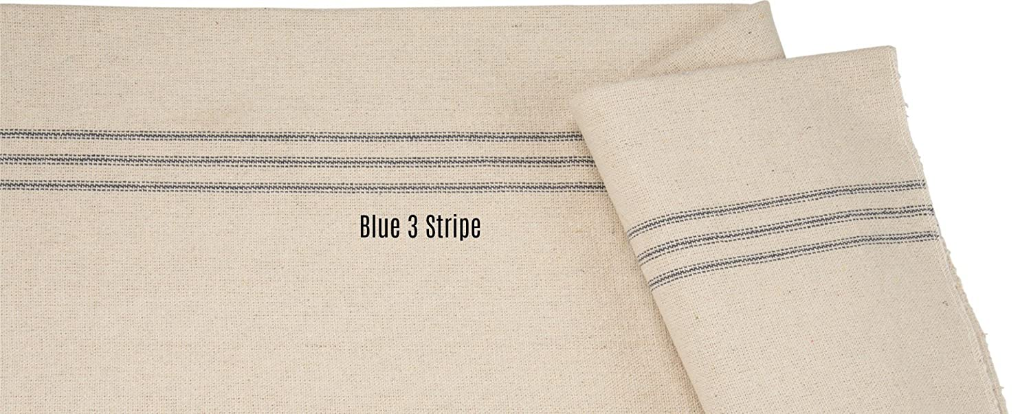 Table Runner French Farmhouse 13 Inches Wide Grain Sack Fabric Blue Woven 9-Stripe Several Sizes Available