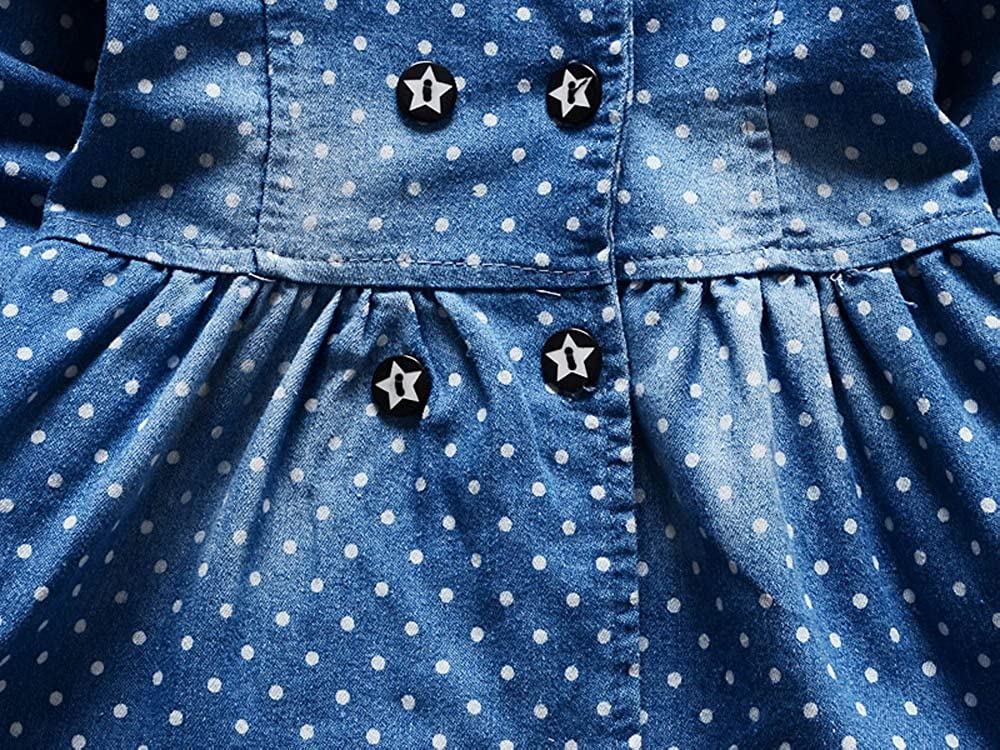 WOCACHI Toddler Baby Girls Dresses Toddler Baby Girls Floral Print Bowknot Short Sleeve Princess Denim Dress Outfit