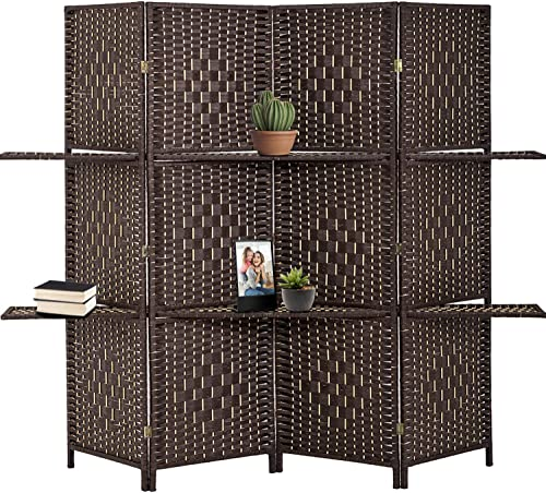 FDW Room Divider 4 Panel Room Screen Divider Wooden Screen Folding Portable partition Screen Screen Wood with Removable Storage Shelves Color Brown