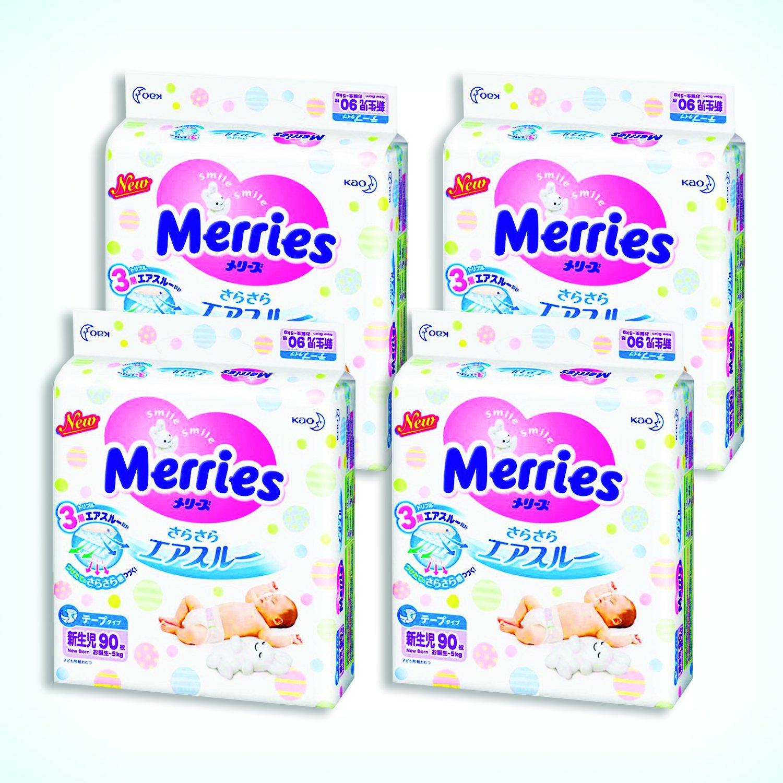 Merries Diapers newborn (Birthday ~ 5kg) free-flowing air through 360 sheets (90 sheets × 4)