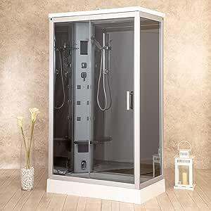 Box ducha hidromasaje Sauna Baño Turco y ozonoterapia entrada a izquierda 120 x 70 cm vorich Air Plus: Amazon.es: Hogar