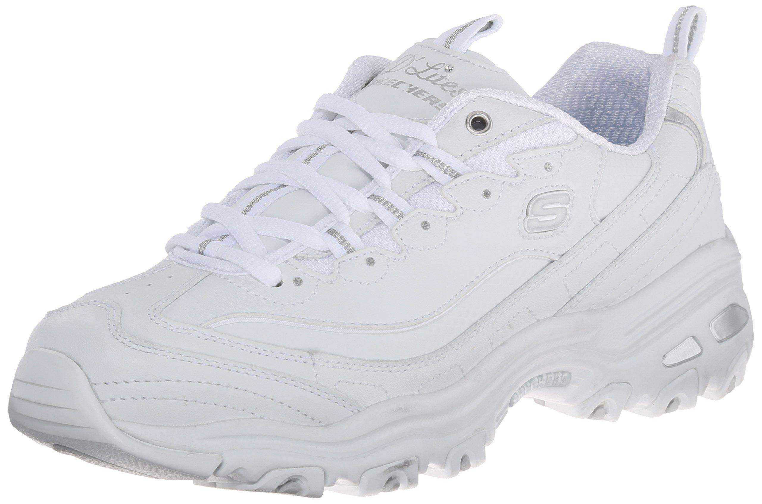 Skechers Sport Women's D'Lites Memory Foam Lace-up Sneaker,White Silver,8.5 W US