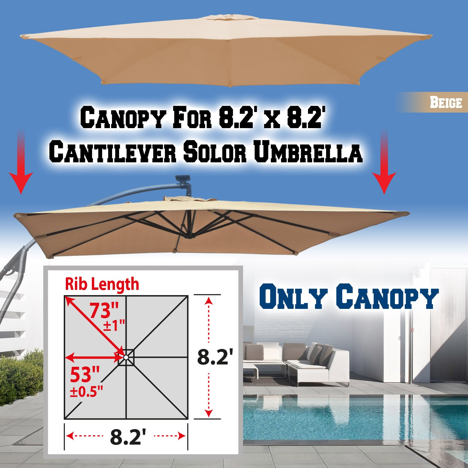 BenefitUSA Replacement Umbrella Canopy for 8.2ft x 8.2 ft 8 Ribs (Canopy Only) (Beige) by BenefitUSA