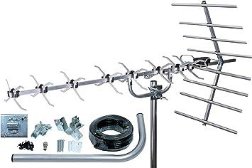 SLx 27884K4 - Juego de antena dorada y accesorios de conexión para televisión digital (4G, 48 elementos) (importado)