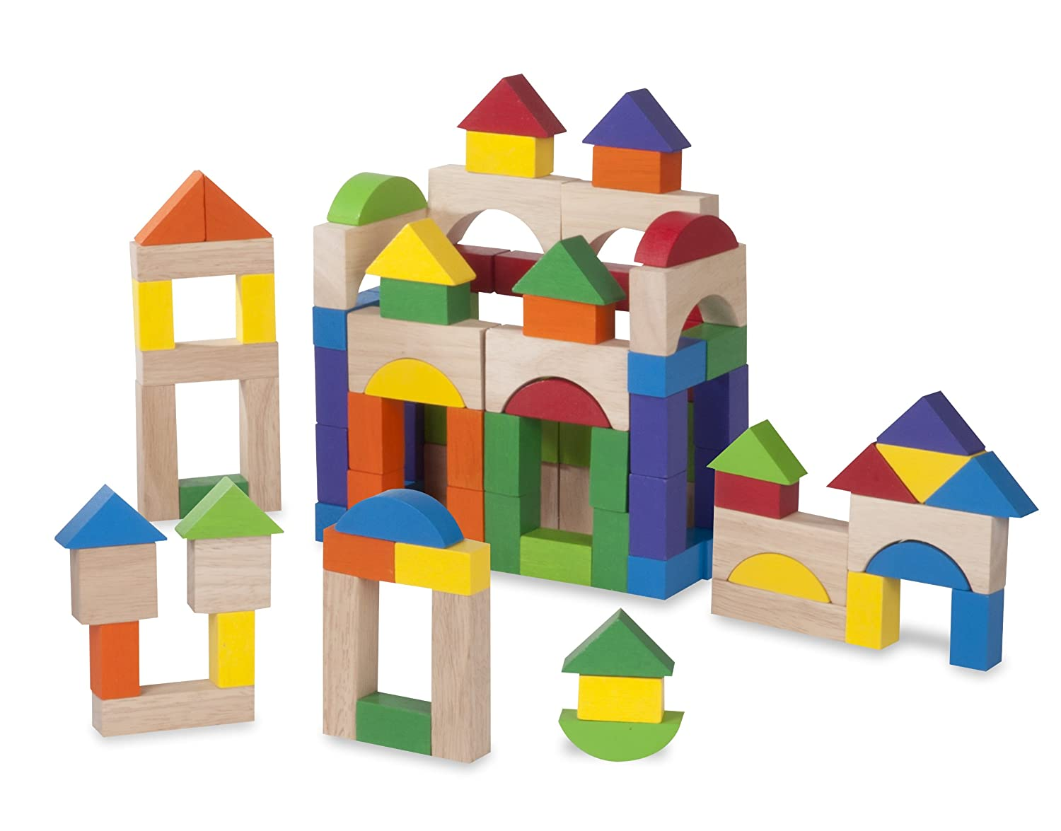Wonderworld 100 Piece Block Set - Basic Building, Includes All Shapes, Colors Toy Set