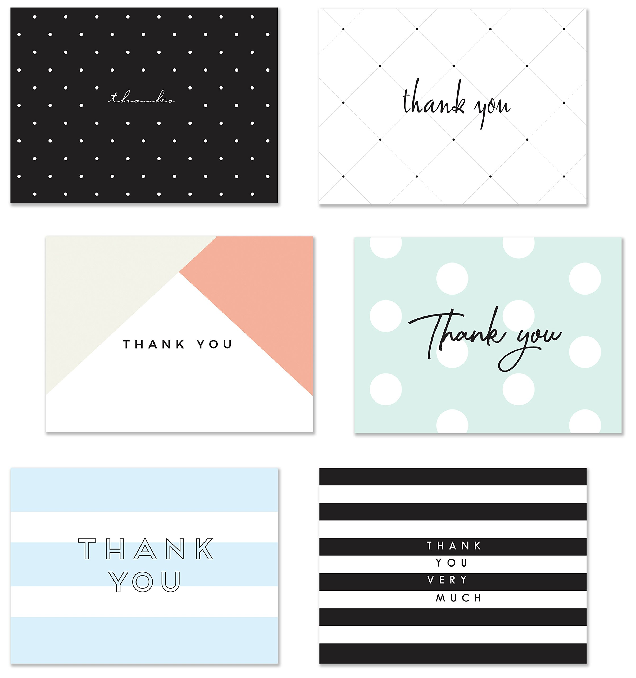 54 Thank You Flat Note Cards, Modern Chic II, Polka Dot and Striped Assorted Blank Back Thank You Notes, All Occasion No Fold Flat Postcard Thank You Greeting Cards and Envelopes, 4.25 x 5.5 Inches