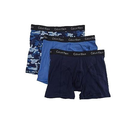 Calvin Klein Men`s Comfort Fit Boxer Briefs - Pack of 3 (Blue(NP1951-490)/Camo Blue/Black, X-Large) at Men's Clothing store