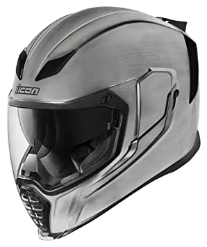 Casco de motocicleta Airflite Quicksilver de Icon, color plateado