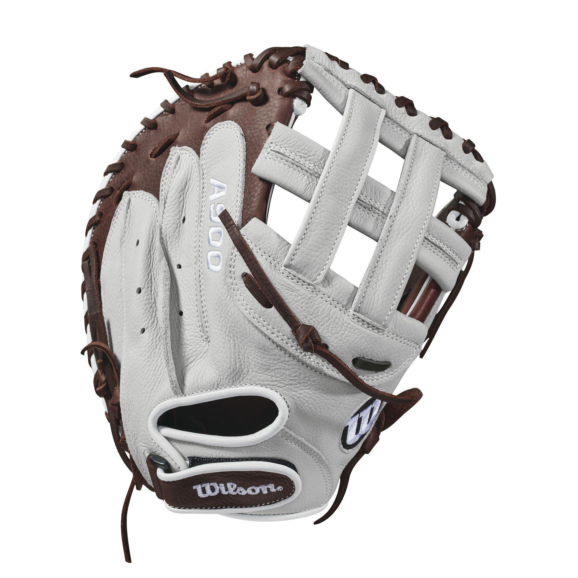 """Wilson 2018 Aura 33"""" Catcher's Fastpitch Mitt – Right Hand Throw, Ivory/Dark Brown"""