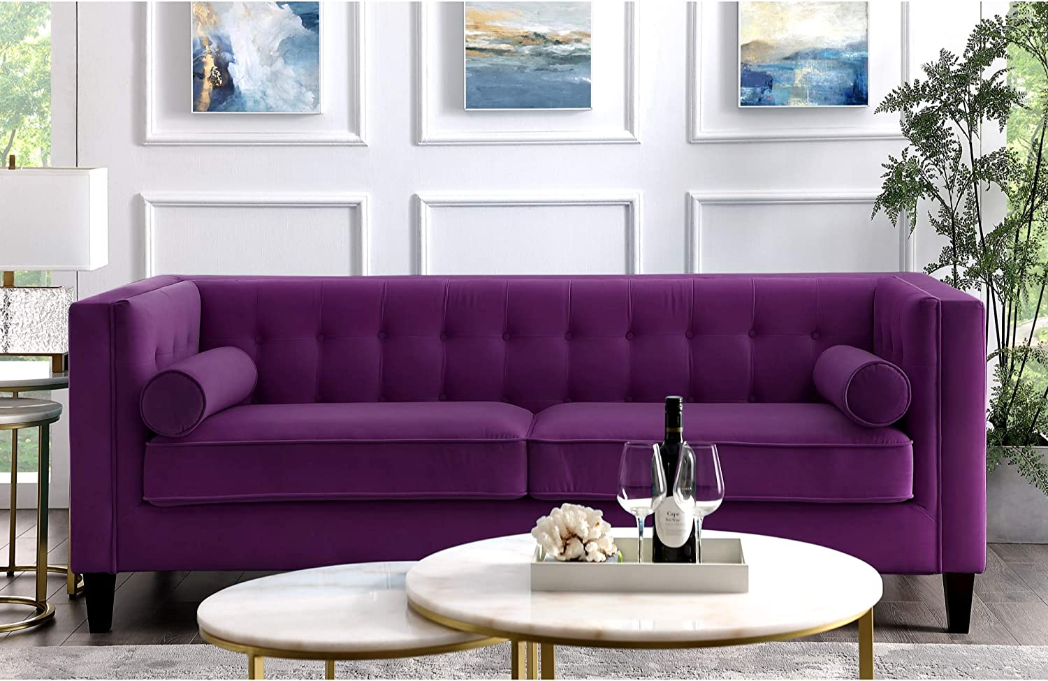 Amazon.com: Inspired Home Purple Velvet Sofa - Design: Lotte | Tufted |  Square Arms | Tapered Legs | Contemporary: Kitchen & Dining