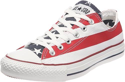 romántico Iluminar Finalmente  Amazon.com | Converse Unisex Chuck Taylor All Star American Flag Ox  White/Blue/Red Sneaker | Fashion Sneakers